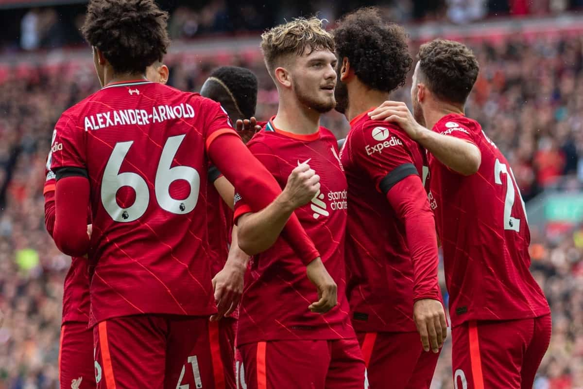 LIVERPOOL, ENGLAND - Saturday, August 21, 2021: Liverpool's Mohamed Salah (2nd from R) celebrates with team-mates Harvey Elliott (L) and Diogo Jota (R) after scoring a second goal, but it was disallowed following a VAR review, during the FA Premier League match between Liverpool FC and Burnley FC at Anfield. Liverpool won 2-0. (Pic by David Rawcliffe/Propaganda)