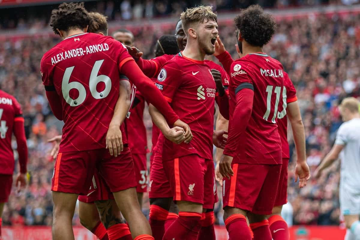 LIVERPOOL, ENGLAND - Saturday, August 21, 2021: Liverpool's Mohamed Salah (R) celebrates with team-mate Harvey Elliott (C) after scoring a second goal, but it was disallowed following a VAR review, during the FA Premier League match between Liverpool FC and Burnley FC at Anfield. Liverpool won 2-0. (Pic by David Rawcliffe/Propaganda)