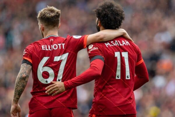 LIVERPOOL, ENGLAND - Saturday 21 August 2021: Liverpool's Mohamed Salah (R) celebrates a second goal with teammate Harvey Elliott (L), however, after a VAR review during the FA Premier League game between Liverpool FC and not Burnley FC was approved at Anfield Road.  Liverpool won 2-0.  (Image by David Rawcliffe / Propaganda)