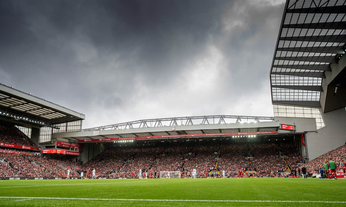 LIVERPOOL, ENGLAND - Saturday, August 21, 2021: A general view of the Spion Kop during the FA Premier League match between Liverpool FC and Burnley FC at Anfield. Liverpool won 2-0. (Pic by David Rawcliffe/Propaganda)