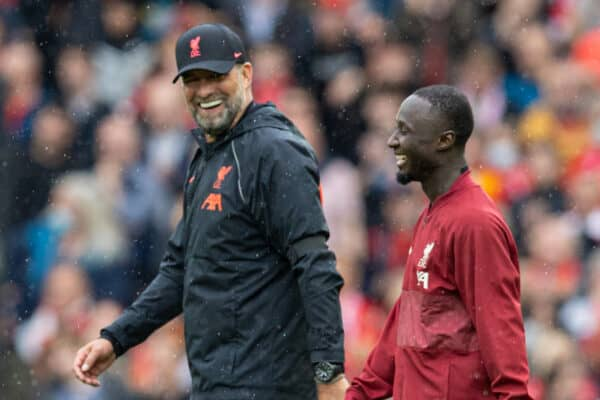 LIVERPOOL, ENGLAND - Saturday, August 21, 2021: Liverpool's manager Jürgen Klopp (L) and Naby Keita after the FA Premier League match between Liverpool FC and Burnley FC at Anfield. Liverpool won 2-0. (Pic by David Rawcliffe/Propaganda)