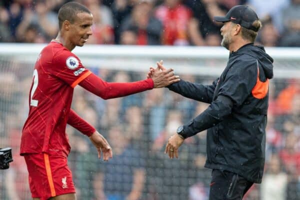LIVERPOOL, ENGLAND - Saturday, August 21, 2021: Liverpool's manager Jürgen Klopp (R) and Joel Matip after the FA Premier League match between Liverpool FC and Burnley FC at Anfield. Liverpool won 2-0. (Pic by David Rawcliffe/Propaganda)