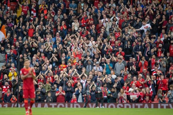 LIVERPOOL, ENGLAND - Saturday, August 21, 2021: Liverpool supporters applaud the team after the FA Premier League match between Liverpool FC and Burnley FC at Anfield. Liverpool won 2-0. (Pic by David Rawcliffe/Propaganda)