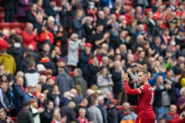 LIVERPOOL, ENGLAND - Saturday, August 21, 2021: Liverpool's captain Jordan Henderson applauds the supporters after the FA Premier League match between Liverpool FC and Burnley FC at Anfield. Liverpool won 2-0. (Pic by David Rawcliffe/Propaganda)