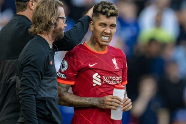 LIVERPOOL, ENGLAND - Saturday, August 28, 2021: Liverpool's Roberto Firmino reacts as he is substituted with an injury during the FA Premier League match between Liverpool FC and Chelsea FC at Anfield. (Pic by David Rawcliffe/Propaganda)
