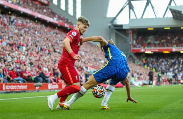 LIVERPOOL, ENGLAND - Saturday, August 28, 2021: Liverpool's Harvey Elliott (L) and Chelsea's Marcos Alonso during the FA Premier League match between Liverpool FC and Chelsea FC at Anfield. (Pic by David Rawcliffe/Propaganda)