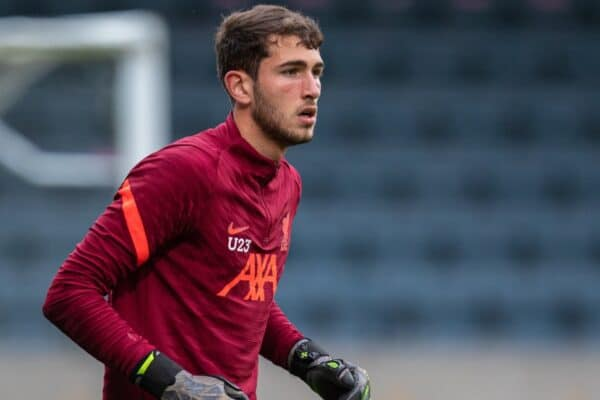 ROCHDALE, ENGLAND - Tuesday, August 31, 2021: Liverpool's goalkeeper Harvey Davies during the pre-match warm-up before the English Football League Trophy match between Rochdale AFC and Liverpool FC Under-21's at Spotland Stadium. Rochdale won 4-0. (Pic by David Rawcliffe/Propaganda)
