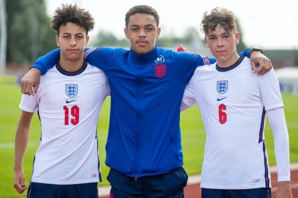 England's trio of Liverpool players (L-R) Kaide Gordon, Lee Jonas and Luke Chambers pose for a picture after an International Friendly Challenge match between Wales Under-18's and England Under-18's at Spytty Park. The game ended in a 1-1 draw. (Pic by David Rawcliffe/Propaganda)
