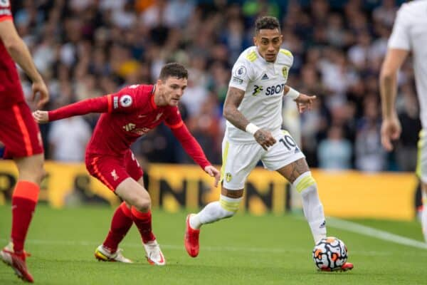 LEEDS, ENGLAND - Sunday, September 12, 2021: Leeds United's Raphael Dias Belloli 'Raphinha' (R) and Liverpool's Andy Robertson during the FA Premier League match between Leeds United FC and Liverpool FC at Elland Road. Liverpool won 3-0. (Pic by David Rawcliffe/Propaganda)