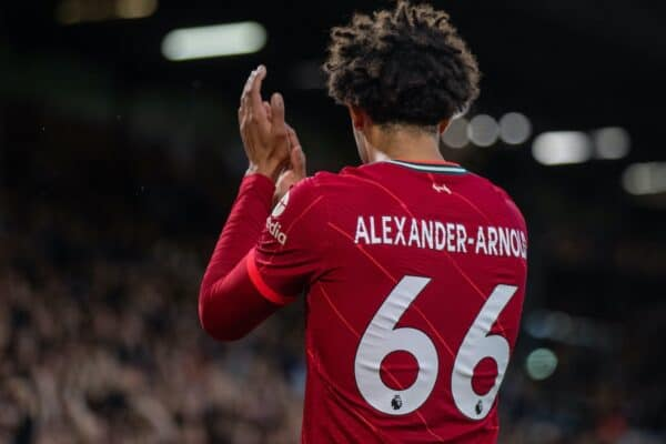 LEEDS, ENGLAND - Sunday, September 12, 2021: Liverpool's Trent Alexander-Arnold during the FA Premier League match between Leeds United FC and Liverpool FC at Elland Road. Liverpool won 3-0. (Pic by David Rawcliffe/Propaganda)