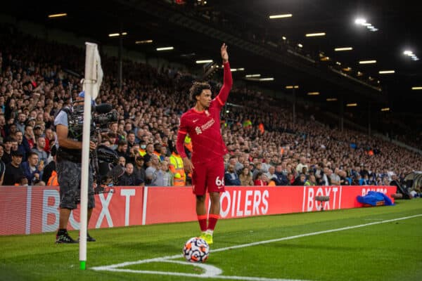 LEEDS, ENGLAND - Sunday, September 12, 2021: Liverpool's Trent Alexander-Arnold takes a corner-kick during the FA Premier League match between Leeds United FC and Liverpool FC at Elland Road. Liverpool won 3-0. (Pic by David Rawcliffe/Propaganda)