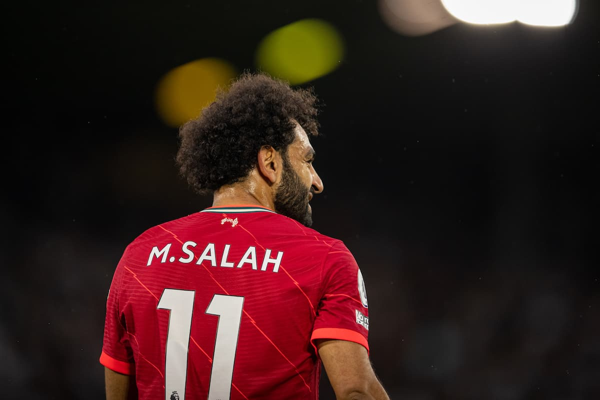 LEEDS, ENGLAND - Sunday, September 12, 2021: Liverpool's Mohamed Salah during the FA Premier League match between Leeds United FC and Liverpool FC at Elland Road. Liverpool won 3-0. (Pic by David Rawcliffe/Propaganda)