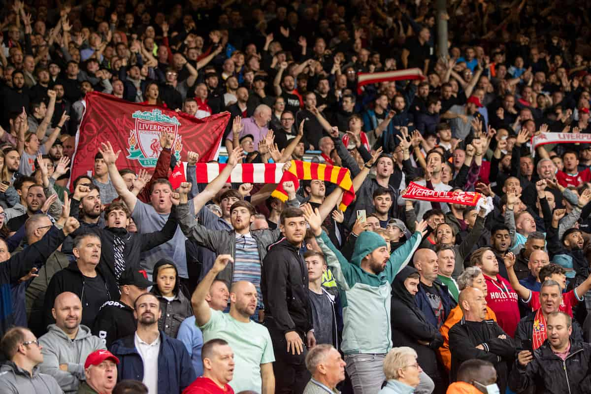 LEEDS, ENGLAND - Sunday, September 12, 2021: Liverpool supporters during the FA Premier League match between Leeds United FC and Liverpool FC at Elland Road. Liverpool won 3-0. (Pic by David Rawcliffe/Propaganda)