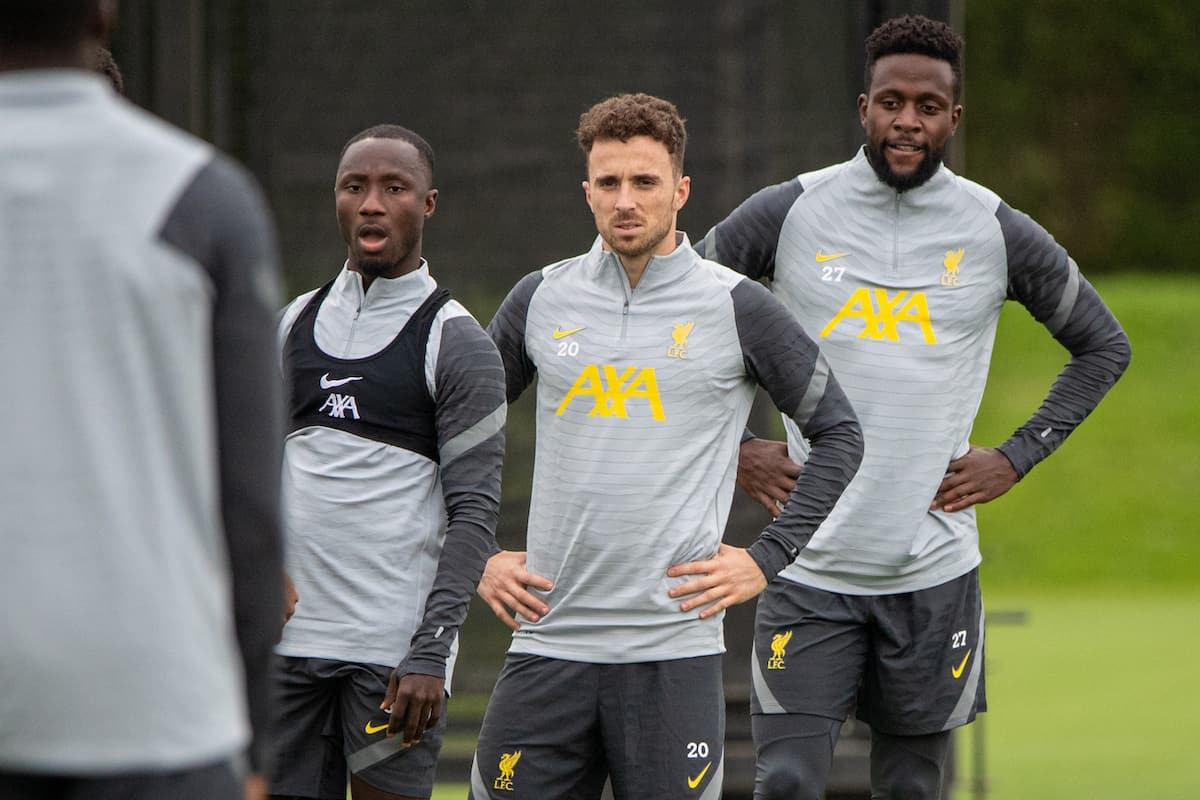 LIVERPOOL, ENGLAND - Tuesday, September 14, 2021: Liverpool's (L-R) Naby Keita, Diogo Jota and Divock Origi during a training session at the AXA Training Centre ahead of the UEFA Champions League Group B Matchday 1 game between Liverpool FC and AC Milan. (Pic by David Rawcliffe/Propaganda)