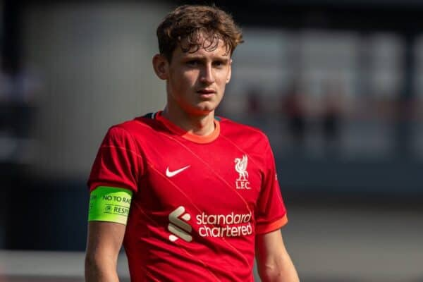 LIVERPOOL, ENGLAND - Wednesday, September 15, 2021: Liverpool's captain Tyler Morton during the UEFA Youth League Group B Matchday 1 game between Liverpool FC Under19's and AC Milan Under 19's at the Liverpool Academy. Liverpool won 1-0. (Pic by David Rawcliffe/Propaganda)