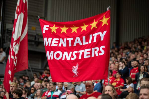"""LIVERPOOL, ENGLAND - Saturday, September 18, 2021: Liverpool supporters' banner """"Mentality Monsters"""" on the Spion Kop before the FA Premier League match between Liverpool FC and Crystal Palace FC at Anfield. Liverpool won 3-0. (Pic by David Rawcliffe/Propaganda)"""