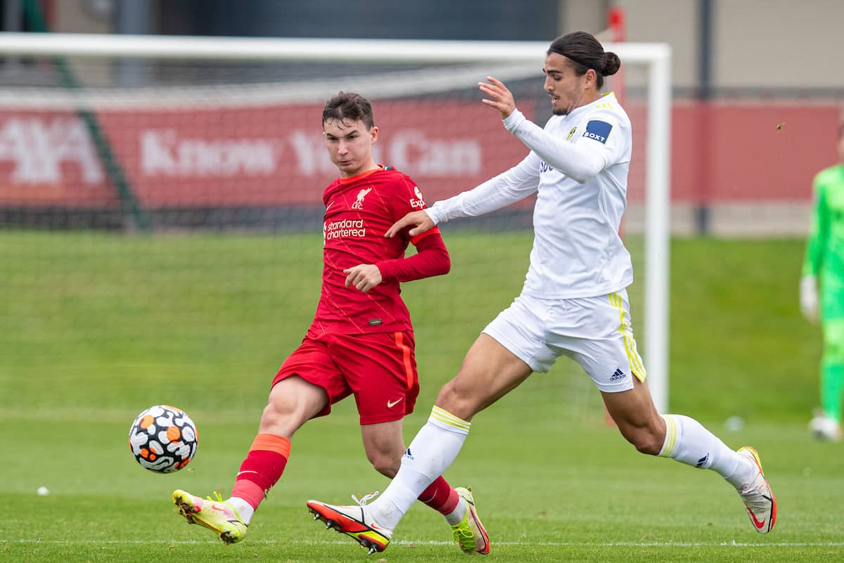 LIVERPOOL, ENGLAND - Sunday, September 19, 2021: Liverpool's Mateusz Musialowski (L) and Leeds United's Pascal Struijk during the Premier League 2 Division 1 match between Liverpool FC Under-23's and Leeds United AFC Under-23's at the Liverpool Academy. Leeds United won 4-0. (Pic by David Rawcliffe/Propaganda)