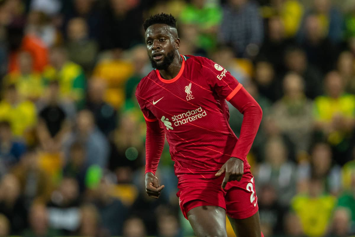 NORWICH, ENGLAND - Tuesday, September 21, 2021: Liverpool's Divock Origi during the Football League Cup 3rd Round match between Norwich City FC and Liverpool FC at Carrow Road. Liverpool won 3-0. (Pic by David Rawcliffe/Propaganda)