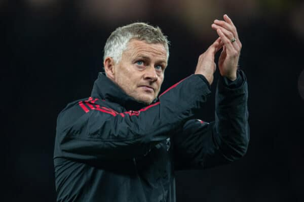MANCHESTER, ENGLAND - Wednesday, September 22, 2021: Manchester United's manager Ole Gunnar Solskjær applauds the supporters after the Football League Cup 3rd Round match between Manchester United FC and West Ham United FC at Old Trafford. West Ham United won 1-0. (Pic by David Rawcliffe/Propaganda)