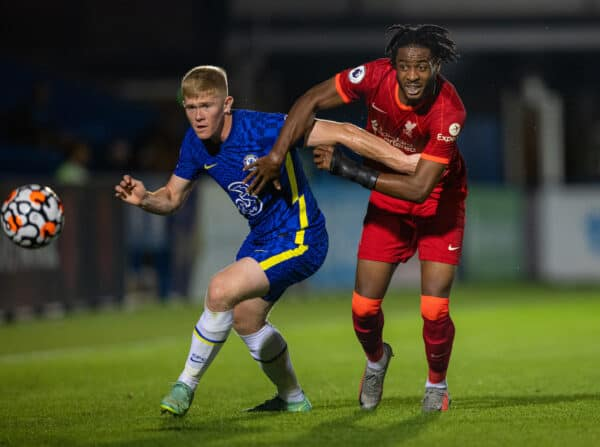 KINGSTON-UPON-THAMES, ENGLAND - Friday, September 24, 2021: Liverpool's James Balagizi (R) and Chelsea's Lewis Hall during the Premier League 2 Division 1 match between Chelsea FC Under-23's and Liverpool FC Under-23's at the Kingsmeadow Stadium. Chelsea won 4-3. (Pic by David Rawcliffe/Propaganda)