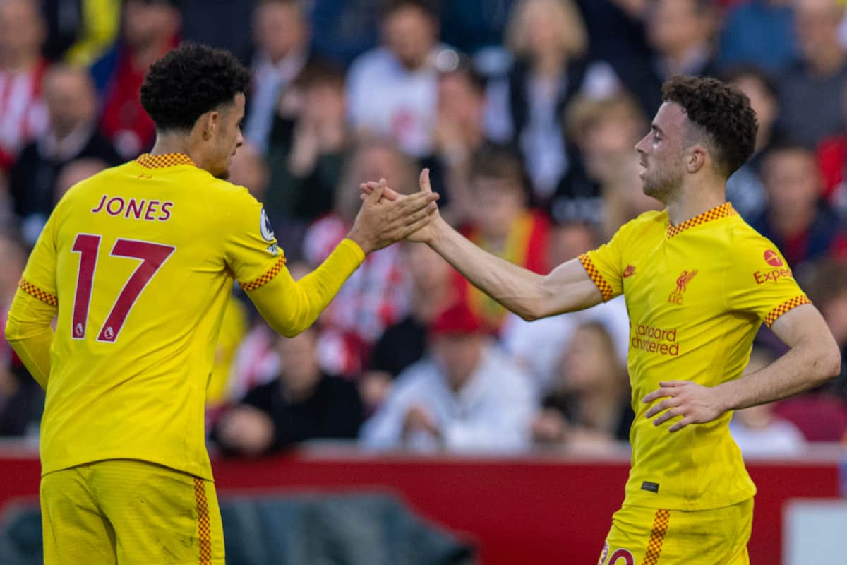 LONDON, ENGLAND - Saturday, September 25, 2021: Liverpool's Diogo Jota (R) celebrates with team-mate Curtis Jones after scoring the first goal during the FA Premier League match between Brentford FC and Liverpool FC at the Brentford Community Stadium. (Pic by David Rawcliffe/Propaganda)