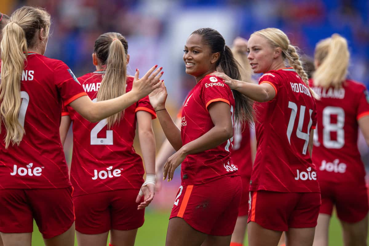 BIRKENHEAD, ENGLAND - Sunday, September 26, 2021: Liverpool's Taylor Hinds celebrates after scoring the first goal during the FA Women's Championship Round 4 match between Liverpool FC Women and Crystal Palace FC Women at Prenton Park. (Pic by David Rawcliffe/Propaganda)
