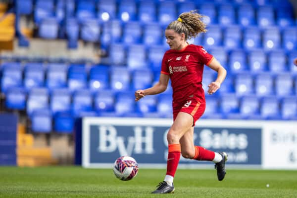 BIRKENHEAD, ENGLAND - Sunday, September 26, 2021: Liverpool's Leanne Kiernan during the FA Women's Championship Round 4 match between Liverpool FC Women and Crystal Palace FC Women at Prenton Park. (Pic by David Rawcliffe/Propaganda)