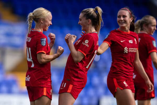 BIRKENHEAD, ENGLAND - Sunday, September 26, 2021: Liverpool's Ashley Hodson (L) celebrates with team-mate Melissa Lawley (R) after scoring the second goal during the FA Women's Championship Round 4 match between Liverpool FC Women and Crystal Palace FC Women at Prenton Park. (Pic by David Rawcliffe/Propaganda)