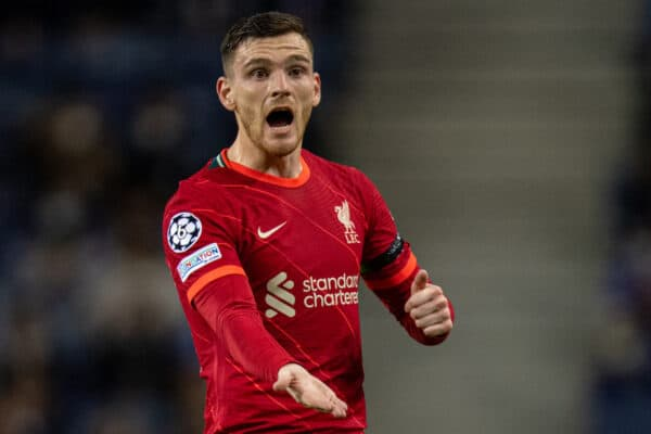PORTO, PORTUGAL - Tuesday, September 28, 2021: Liverpool's Andy Robertson during the UEFA Champions League Group B Matchday 2 game between FC Porto and Liverpool FC at the Estádio do Dragão. Liverpool won 5-1. (Pic by David Rawcliffe/Propaganda)