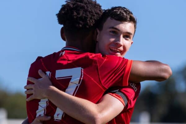 PORTO, PORTUGAL - Tuesday, September 28, 2021: Liverpool's substitute Melkamu Frauendorf (L) celebrates with team-mate Mateusz Musialowski after scoring the first equalising goal during the UEFA Youth League Group B Matchday 2 game between FC Porto Under-19's and Liverpool FC Under-19's at the Vila Nova de Gaia Stadium. (Pic by David Rawcliffe/Propaganda)
