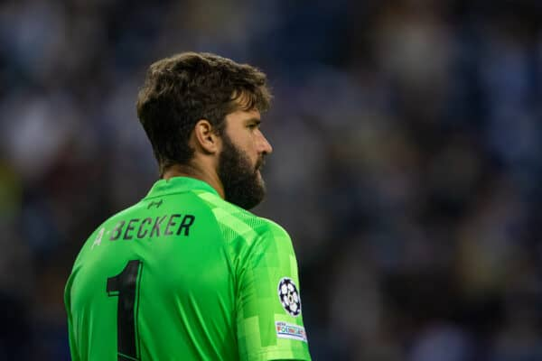 PORTO, PORTUGAL - Tuesday, September 28, 2021: Liverpool's goalkeeper Alisson Becker during the UEFA Champions League Group B Matchday 2 game between FC Porto and Liverpool FC at the Estádio do Dragão. Liverpool won 5-1. (Pic by David Rawcliffe/Propaganda)