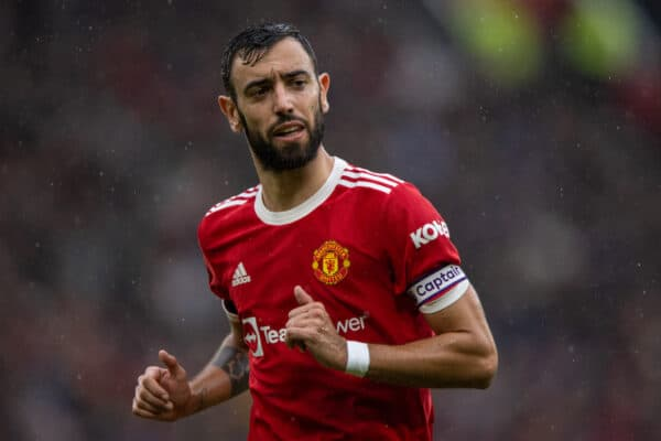 Manchester United's captain Bruno Fernandes during the FA Premier League match between Manchester United FC and Everton FC at Old Trafford. The game ended in a 1-1 draw. (Pic by David Rawcliffe/Propaganda)