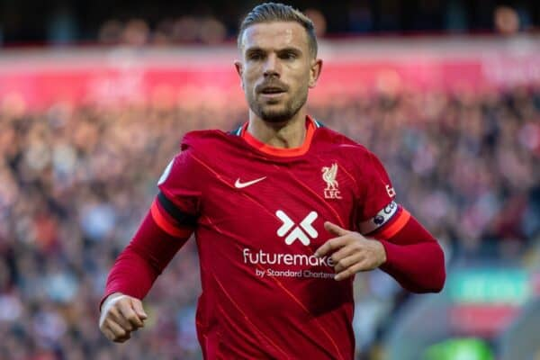 LIVERPOOL, ENGLAND - Sunday, October 3, 2021: Liverpool's captain Jordan Henderson during the FA Premier League match between Liverpool FC and Manchester City FC at Anfield. The game ended in a 2-2 draw. (Pic by David Rawcliffe/Propaganda)