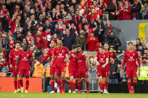 LIVERPOOL, ENGLAND - Sunday, October 3, 2021: Liverpool's Mohamed Salah celebrates after scoring the second goal during the FA Premier League match between Liverpool FC and Manchester City FC at Anfield. The game ended in a 2-2 draw. (Pic by David Rawcliffe/Propaganda)