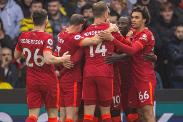 Liverpool's Sadio Mané celebrates with team-mates after scoring the first goal, his 100th Premier League goal, during the FA Premier League match between Watford FC and Liverpool FC at Vicarage Road. Liverpool won 5-0. (Pic by David Rawcliffe/Propaganda)