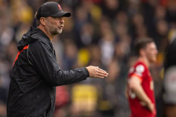 WATFORD, ENGLAND - Saturday, October 16, 2021: Liverpool's manager Jürgen Klopp during the FA Premier League match between Watford FC and Liverpool FC at Vicarage Road. Liverpool won 5-0. (Pic by David Rawcliffe/Propaganda)