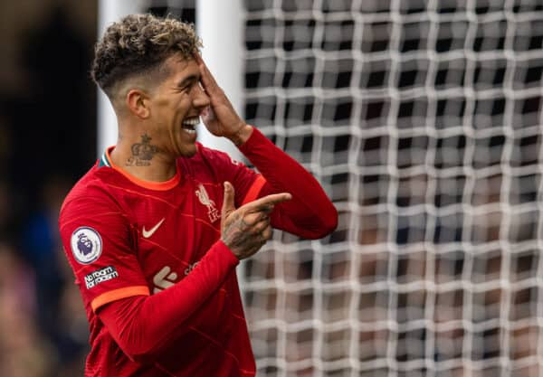 WATFORD, ENGLAND - Saturday, October 16, 2021: Liverpool's Roberto Firmino celebrates after scoring the third goal, the second of his hat-trick, during the FA Premier League match between Watford FC and Liverpool FC at Vicarage Road. Liverpool won 5-0. (Pic by David Rawcliffe/Propaganda)