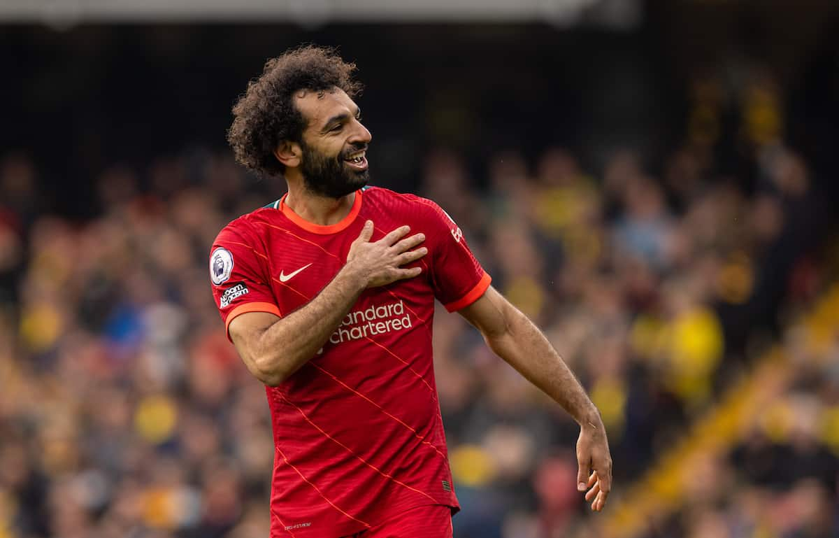 WATFORD, ENGLAND - Saturday, October 16, 2021: Liverpool's Mohamed Salah celebrates scoring the fourth goal, the eighth consecutive game he's scored in, during the FA Premier League match between Watford FC and Liverpool FC at Vicarage Road. Liverpool won 5-0. (Pic by David Rawcliffe/Propaganda)