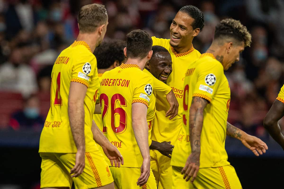 MADRID, SPAIN - Tuesday, October 19, 2021: Liverpool's Naby Keita (C) celebrates after scoring the second goal with team-mates during the UEFA Champions League Group B Matchday 3 game between Club Atlético de Madrid and Liverpool FC at the Estadio Metropolitano. Liverpool won 3-2. (Pic by David Rawcliffe/Propaganda)