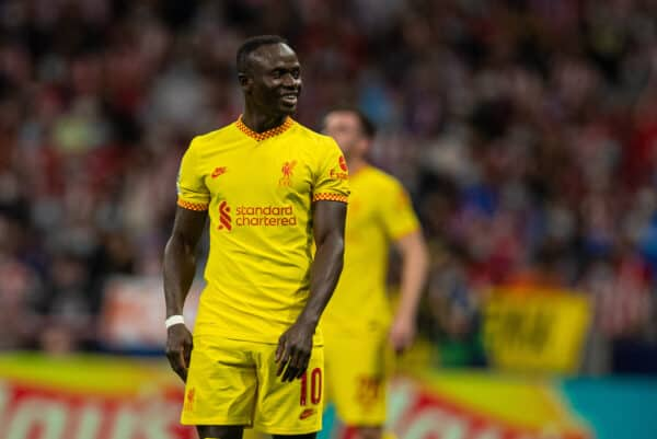 Liverpool's Sadio Mané during the UEFA Champions League Group B Matchday 3 game between Club Atlético de Madrid and Liverpool FC at the Estadio Metropolitano. Liverpool won 3-2. (Pic by David Rawcliffe/Propaganda)