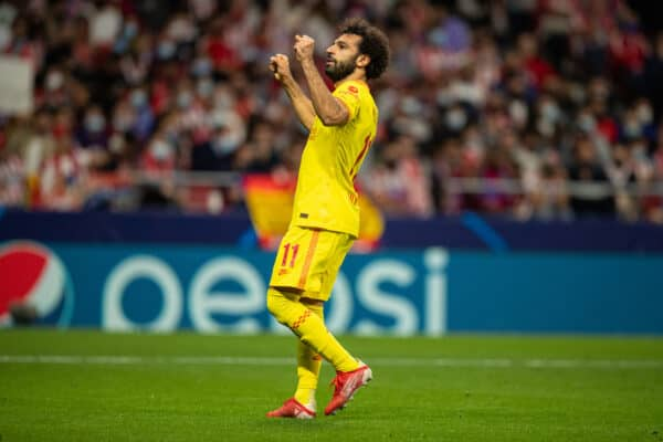 Liverpool's Mohamed Salah celebrates after scoring the winning third goal, from a penalty-kick, to makes the score 2-3 during the UEFA Champions League Group B Matchday 3 game between Club Atlético de Madrid and Liverpool FC at the Estadio Metropolitano. Liverpool won 3-2. (Pic by David Rawcliffe/Propaganda)