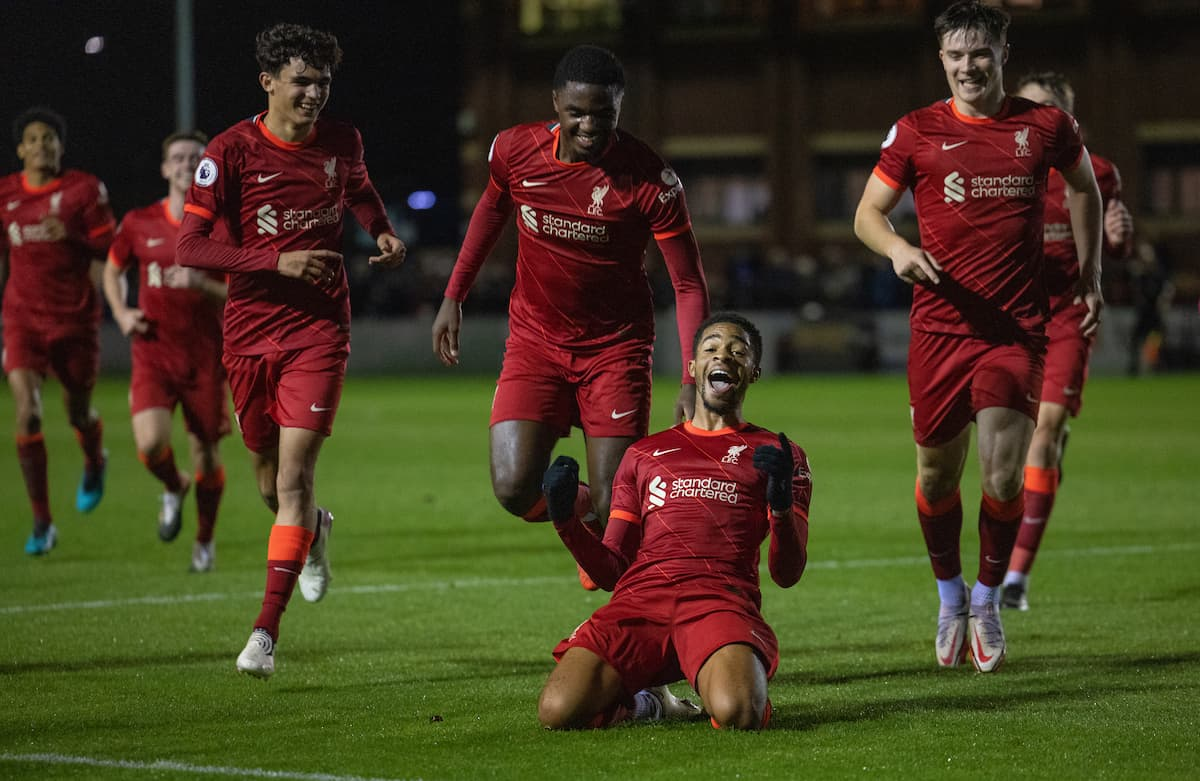 LEYLAND, ENGLAND - Monday, October 25, 2021: Liverpool's Liverpool's Elijah Dixon-Bonner (C) celebrates after scoring the second goal during the Premier League 2 Division 1 match between Blackburn Rovers FC Under-23's and Liverpool FC Under-23's at the County Ground. (Pic by David Rawcliffe/Propaganda)