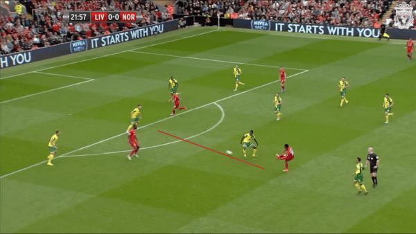 22 mins, Sturridge vs. Norwich - Attempted through ball