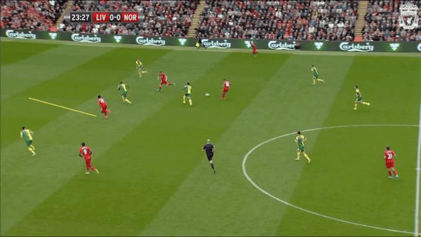 24 mins, Sturridge vs. Norwich - Good movement