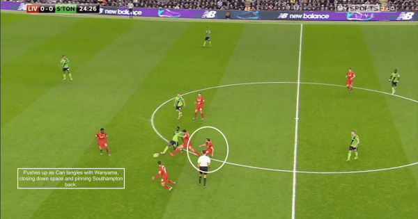 Pushes up as Can tangles with Wanyama, closing down space and pinning Southampton back.