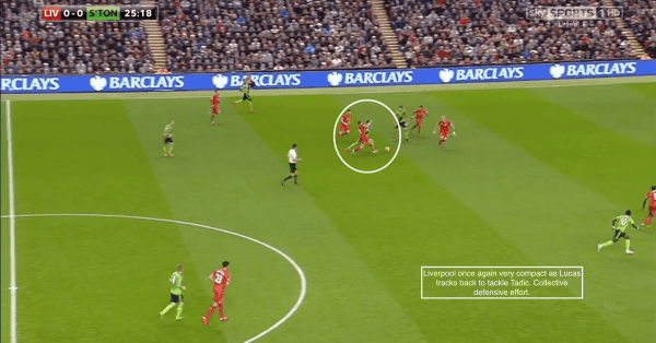 Liverpool once again very compact as Lucas tracks back to tackle Tadic. Collective defensive effort.