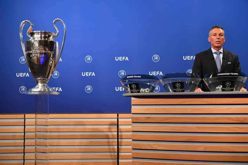 NYON, SWITZERLAND - JUNE 19: UEFA Head of Club Competitions Michael Heselschwerdt during the UEFA Champions League 2018/19 Second Qualifying Round draw at the UEFA headquarters, The House of European Football on June 19, 2018 in Nyon, Switzerland. (Photo by Harold Cunningham - UEFA/UEFA via Getty Images)