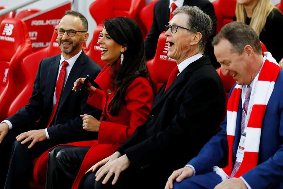 2CMJXWK Premier League - Liverpool v Huddersfield Town - Anfield, Liverpool, Britain - April 26, 2019 Liverpool owner John W. Henry with wife Linda Pizzuti Henry before the match Action Images via Reuters/Jason Cairnduff EDITORIAL USE ONLY. No use with unauthorized audio, video, data, fixture lists, club/league logos or live services. Online in-match use limited to 75 images, no video emulation. No use in betting, games or single club/league/player publications. Please contact your account representative for further details.