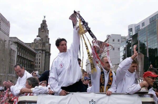 Liverpool trophy parade, 2001, Robbie Fowler, The Strand (PA Images / Alamy Stock Photo)
