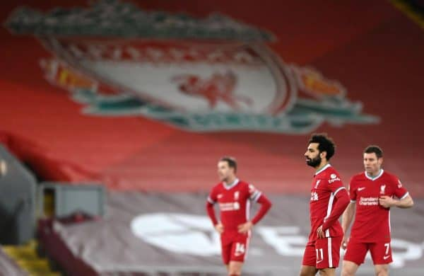 2EA3A92 Liverpool's Mohamed Salah reacts during the Premier League match at Anfield, Liverpool. Picture date: Sunday February 7, 2021. PA Images / Alamy Stock Photo